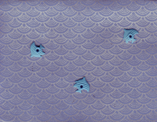 132 - Three blue fish brads swimming on a blue card with silver waves