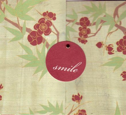 137 - 'Smile' on elegant cherry blossom print card