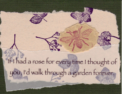 225 - Garden quote with bee and foliage on green card