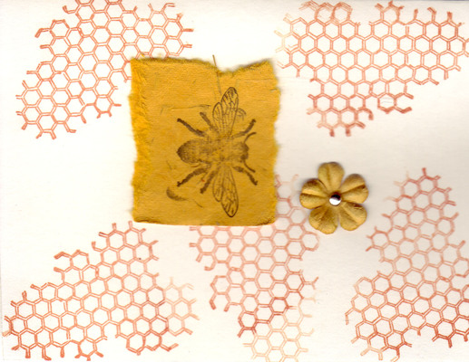 228 - Honeycomb, bee and flower