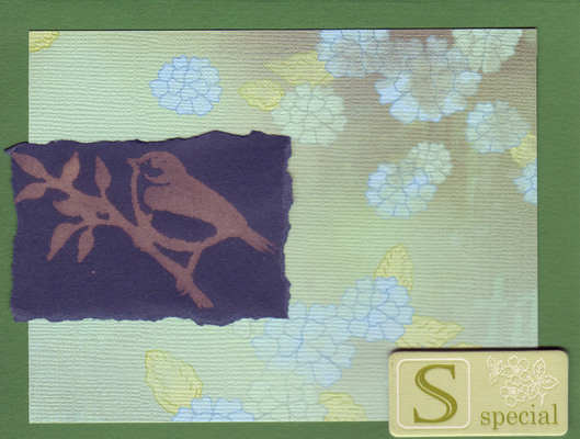242 - Bird stamp with floral paper and 'Special'