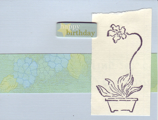 245 - 'Happy Birthday' with orchid stamp