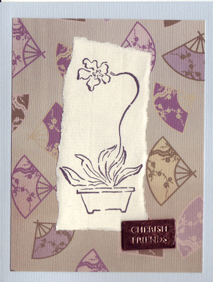 248 - 'Cherish Friends' with orchid stamp