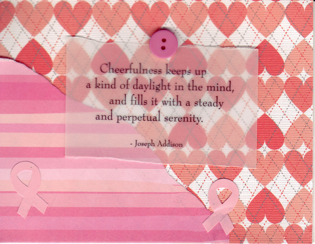 218 - Cheerfulness quote with pink ribbons