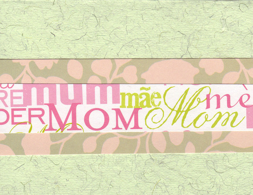 001 - 'Mom' on pink floral paper with green card