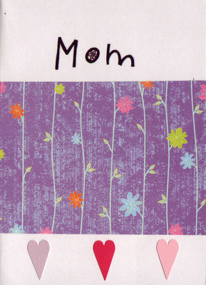 (SOLD) 005 - 'Mom' with sophistacated purple floral paper and pink hearts