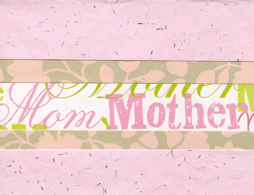 (SOLD) 006 - 'Mother', 'Mom' with pink floral band on pink flocked paper