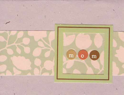 (SOLD) 007 - 'Mom' in frame, with pink floral band on purple flocked paper