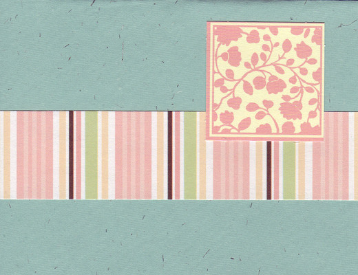 (SOLD) 013 - Floral patterned block with pink band on green flocked paper