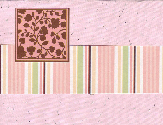 014 - (SOLD) Floral patterned block with pink band on pink flocked paper