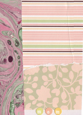018 - 'Mom' with pink marbled border, pink striped paper and pink and green floral paper