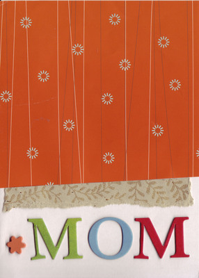 019 - 'Mom' under stylish red paper with gold and tan ribbon