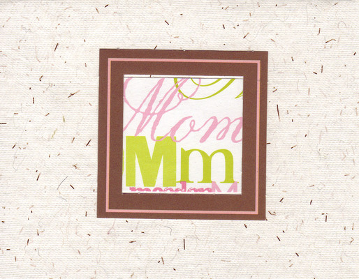 (SOLD) 020 - 'Mom' with brown and pink frame on paper with embedded speckles
