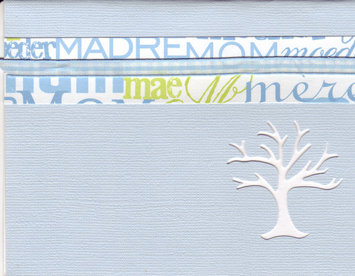 (SOLD) 023 - 'Mom, Mum, Moeder, Madre, Mere' with a light blue checkered ribbon on a sky blue card with an elegant tree cut-out