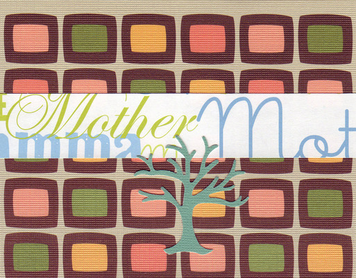 027 - (SOLD) 'Mother' on a retro patterened paper with a green 'family' tree