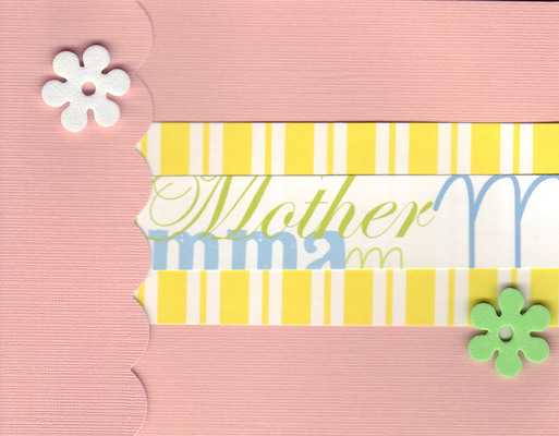 (SOLD) 030 - 'Mother' on a pink card with scalloped flap and two flower embellishments