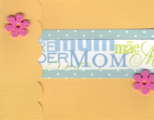 (SOLD) 031 - 'Mother' on an orange card with scalloped flap and two flower embellishments
