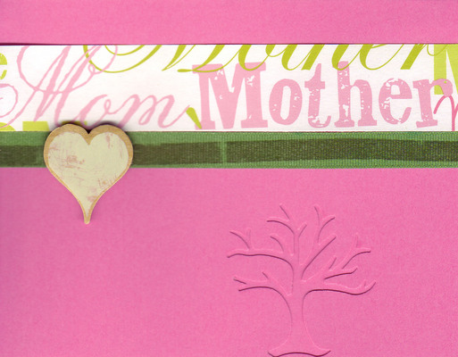(SOLD) 032 - 'Mother' on a pink card with a 'family tree' cutout overlaid with a large heart