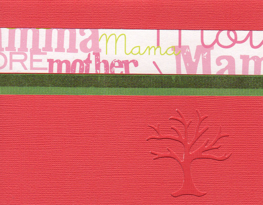 (SOLD) 033 - 'Mother' on a red card with a 'family tree' cutout