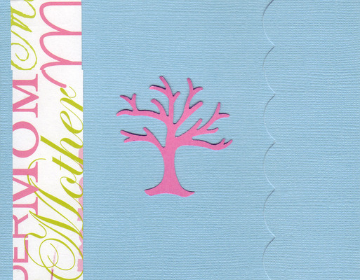 (SOLD) 034 - 'Mother' on a scalloped blue card with a pink 'family tree' embellishment