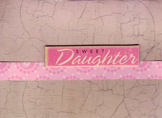 039 - 'Sweet Daughter' with a pink band on tan craquelleure paper