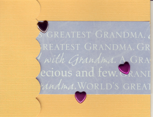057 - 'Greatest Grandma ...' with heart on orange paper