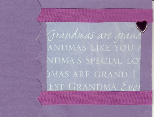 058 - 'Grandmas are grand ...' with heart on purple paper