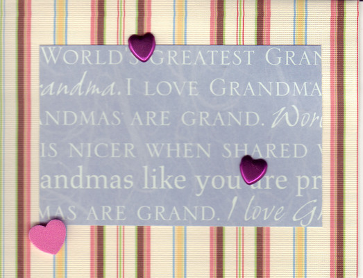 059 - (SOLD) 'Grandmas are grand ...' with hearts on striped paper