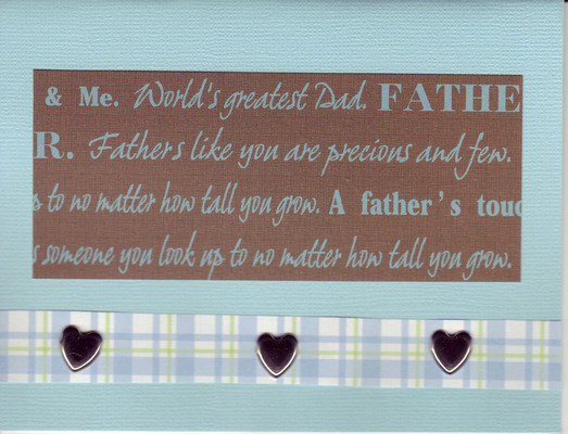 061 - 'World's greatest Dad ...' with hearts on blue paper