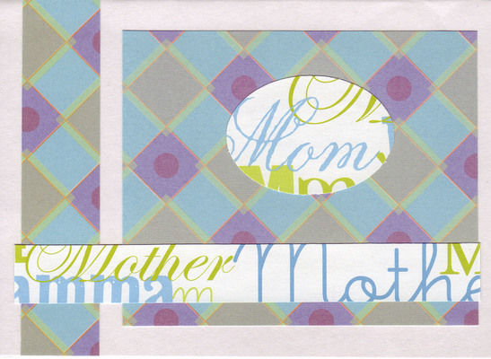 089 - 'Mom' Mother's day card on purple and blue checkered paper