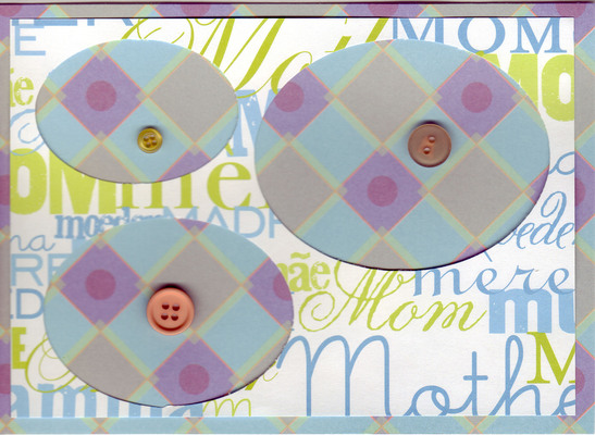 096 - 'Mom, Mother' with buttons on blue and purple paper