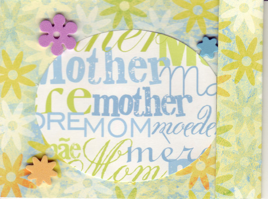099 - 'Mother' card on green floral paper with flower embellishments
