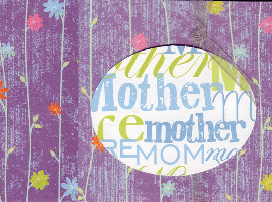 104 - (SOLD) 'Mother' on sophisticated purple floral paper with ribbon