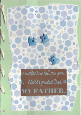 118 - 'My Father' on blue bubble card with fish and ribbon binding