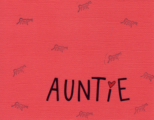 119 - 'Auntie' on red ant-stamped card