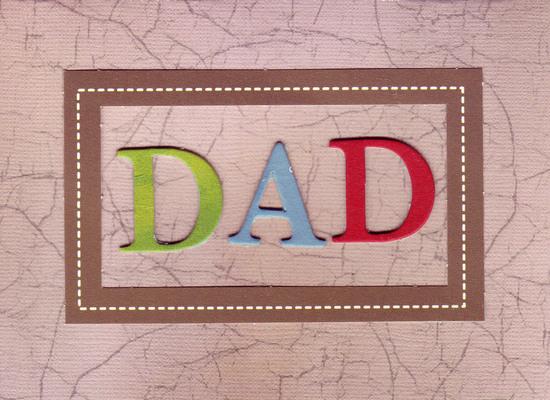 120 - 'Dad' on craqueleure print card