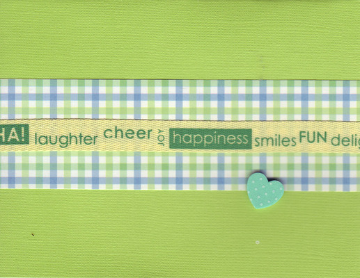 125 - 'Laughter, cheer, joy, happiness, smiles, fun, delight' on a ribbon, on green and blue plaid paper on a bright green card