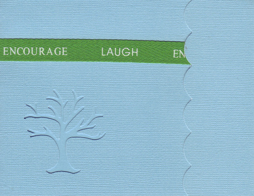 127 - 'Encourage, Laugh' on blue paper with a family tree cut-out