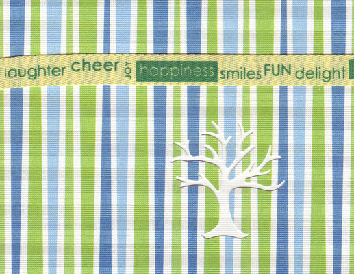 SOLD) 129 - 'Laughter, cheer, joy, happiness, smiles, fun, delight' on a ribbon, on green and blue striped paper