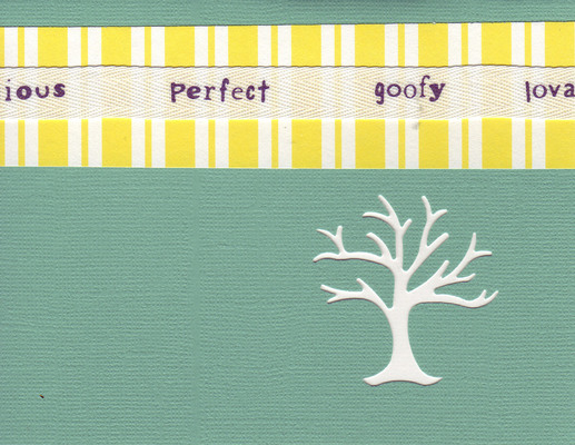 (SOLD) 130 - 'Perfect, goofy, loveable' on yellow striped paper on a green card with a family-tree cutout