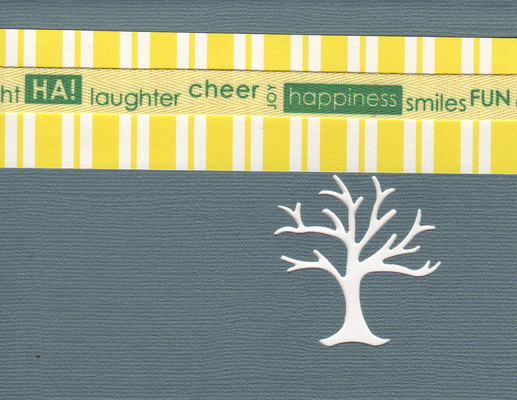 131 - 'Laughter, cheer, joy, happiness, smiles, fun, delight' with yellow striped paper on a slate card with a family tree cutout
