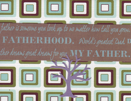 133 - 'Fatherhood, World's greatest Dad' on a retro blue and khaki card with a purple family tree