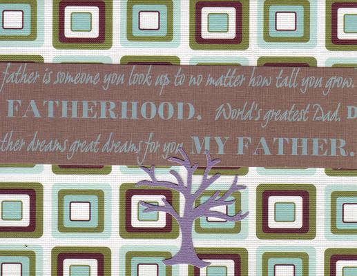 133 - 'Fatherhood, World's greatest Dad' on a retro blue and khaki card with a purple family tree