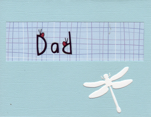 136 - 'Dad' with ladybugs on a calm green card with a dragonfly cutout