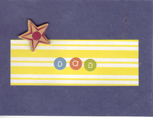 (SOLD) 137 - 'Dad' on yellow striped paper on textured deep purple paper with a star