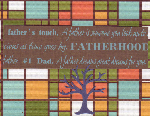 141 - 'No. 1 Dad, Fatherhood' on funky 'stained glass' paper with a purple family tree