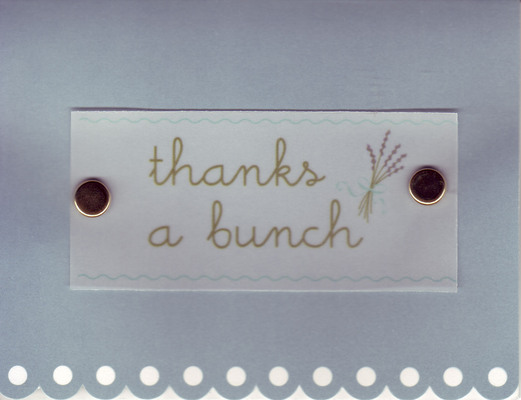 (SOLD) 146 - 'Thanks a bunch' with a lavender bunch on scalloped lavender paper
