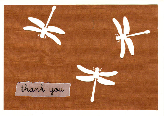 (SOLD) 147 - 'Thank you' atop deep red paper with dragonfly cutouts on a white card