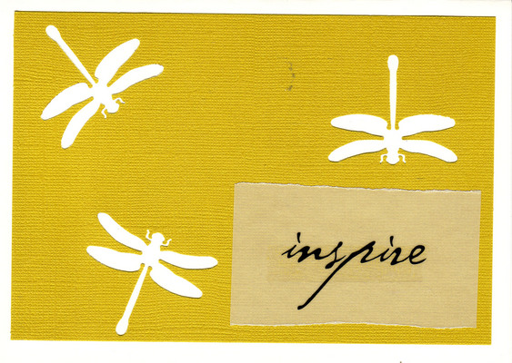 150 - 'Inspire' atop yellow paper with dragonfly cutouts on a white card