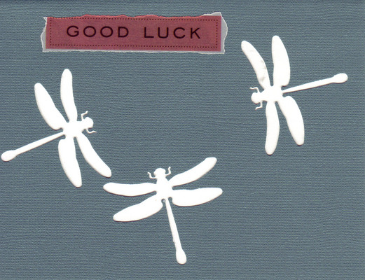 151 - 'Good Luck' atop charcoal paper with dragonfly cutouts on a white card